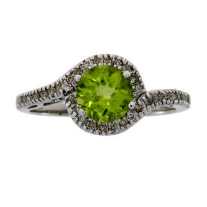 White Gold Peridot And Diamond Twisted Shank Ring